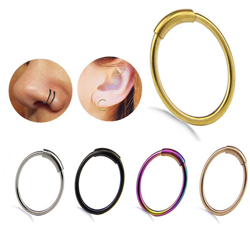 5PCS/Set Steel Hinged Clicker Seamless Piercing Nose Ring Hoop Lip Ear Ring 8mm Body Jewelry Piercing Clip Gift