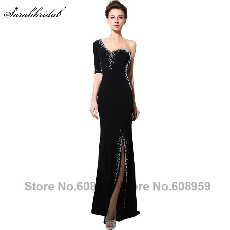 Sexy Crystal Black One Shoulder Prom Dresses Elegant Chiffon Front Split Formal Evening Gowns Real Photos Custom Made SY003