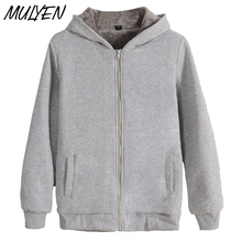 MULYEN 2017 New Arrival Solid Plus Velvet Thick Hoody Hoodies For Men Women Zipper Autumn Winter Plain Sweatshirt XXXXL Clothing