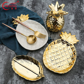 Nordic Gold Home Decor Ceramic Pineapple Vanity Tray Trinket Dish Jewelry Bathroom Organizer Platter Girl Women Bridesmaid Gifts