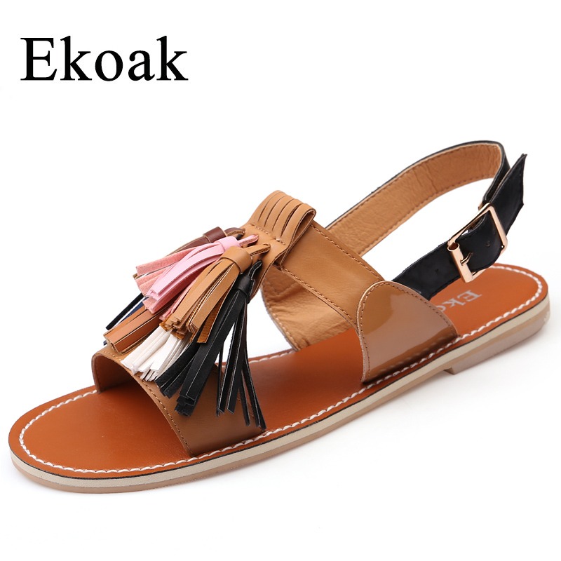 Ekoak Summer Shoes Woman 2018 Fashion Women Sandals Rome Sexy Fringe Ankle Strap Women Flats Sandals Casual Leather Beach Shoes xiaying smile summer new woman sandals casual fashion shoes women zip fringe flats cover heel consice style rubber student shoes