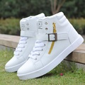Men Shoes 2015 New Spring Leather Men Casual Shoes  White Zippers & belt buckle Men Fashion Shoes Solid Color High top Flats