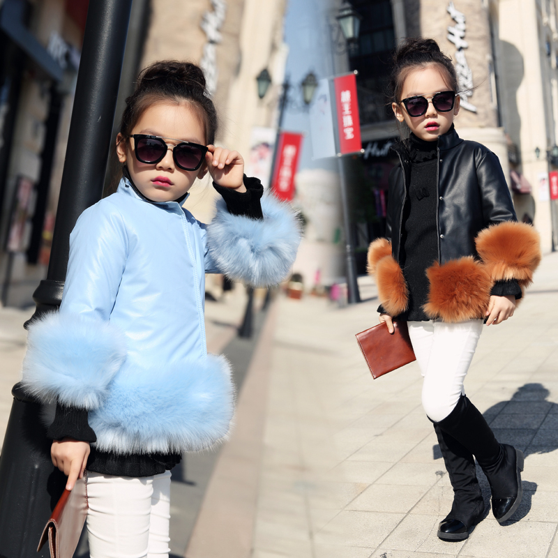Children's Girl Jackets 2017 New Autumn Winter Baby Girls PU Leather Jackets Short Girls Faux Fur Coat Kids Single Breasted 2-9T
