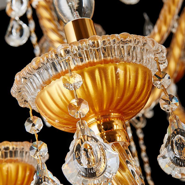 Bohemija velik velik zlati šampanjčni kristalni lestenec za - Notranja razsvetljava - Fotografija 4