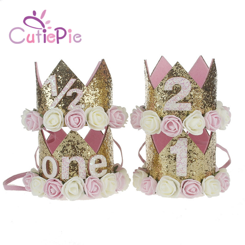 Artificial Delicate Mini Felt Glitter Crown with Flower Headband For Birthday Party DIY Garments Hair Decorative Accessories in Hair Accessories from Mother Kids