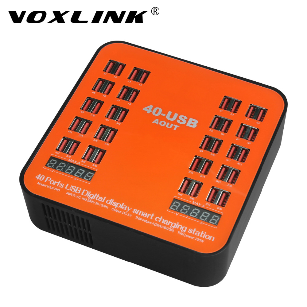 40 Ports USB Charging Station,VOXLINK 200W 40A Universal Multi-Port USB Desktop Charger For iPhone Samsung Huawei iPad Tablet