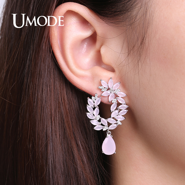 Unique Pink Genuine Austrian Rhinestones Cluster Flower Drop Earrings 3