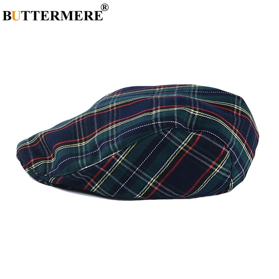 BUTTERMERE Flat-Caps Summer Hats Beret-Hat Spring Navy Plaid Cabbie British-Style Vintage