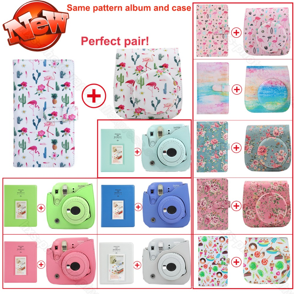 Same Design Album & PU leather Case In Pair for Fujifilm Instax Mini 9 8 Camera, Fujifilm Instax Mini Films фотоаппарат fujifilm 8 instax mini pink