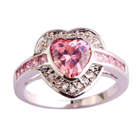 lingmei New Arrival Heart Cut Pink & White Topaz 925 Silver Jewelry Ring For Women Gift Free Shipping Size 7 8 9 10 Wholesale