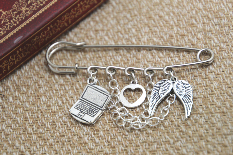 12pcs Supernatural inspired Sabriel themed charm with chain kilt pin brooch (50mm)