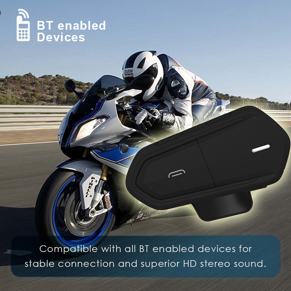 Schwarz Wasserdichte Motorrad Helm Sprechanlagen Qtb35 für Helm Intercom Bluetooth Intercom Motor Sprech Kopfhörer FM Radio