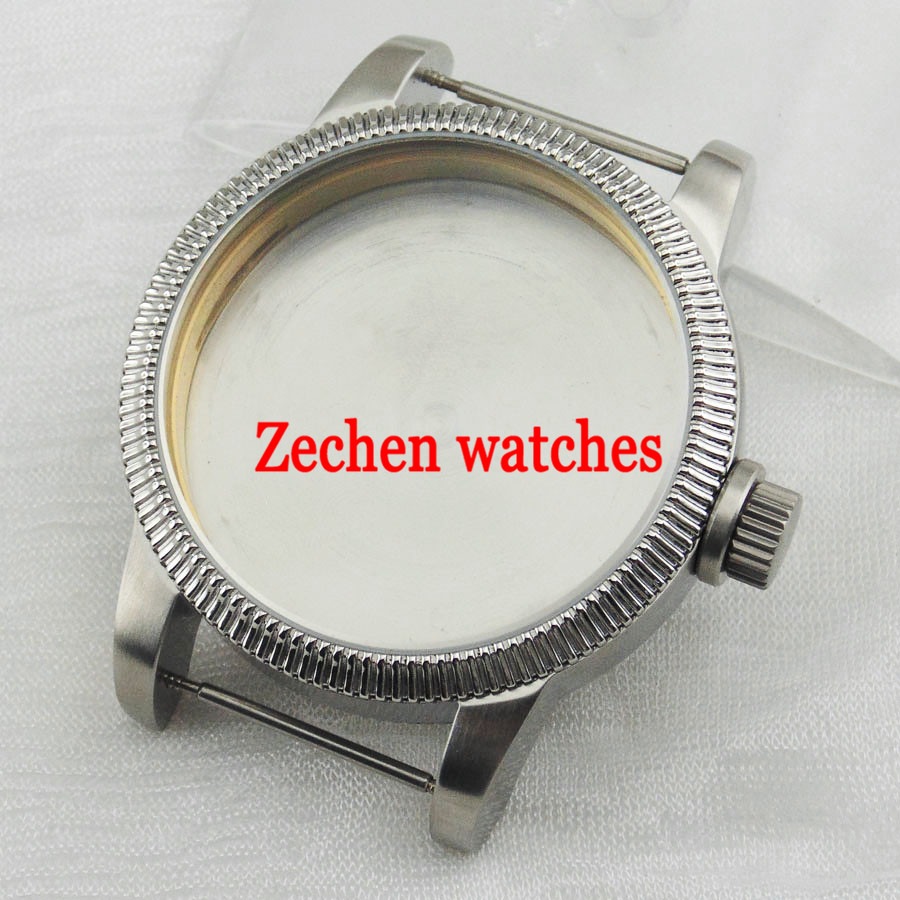 46mm stainless steel watch case for Seagull st36 eta 6497 6498 movement 46mm matte silver gray stainless steel watch case fit 6498 6497 movement watch part case with mineral crystal glass