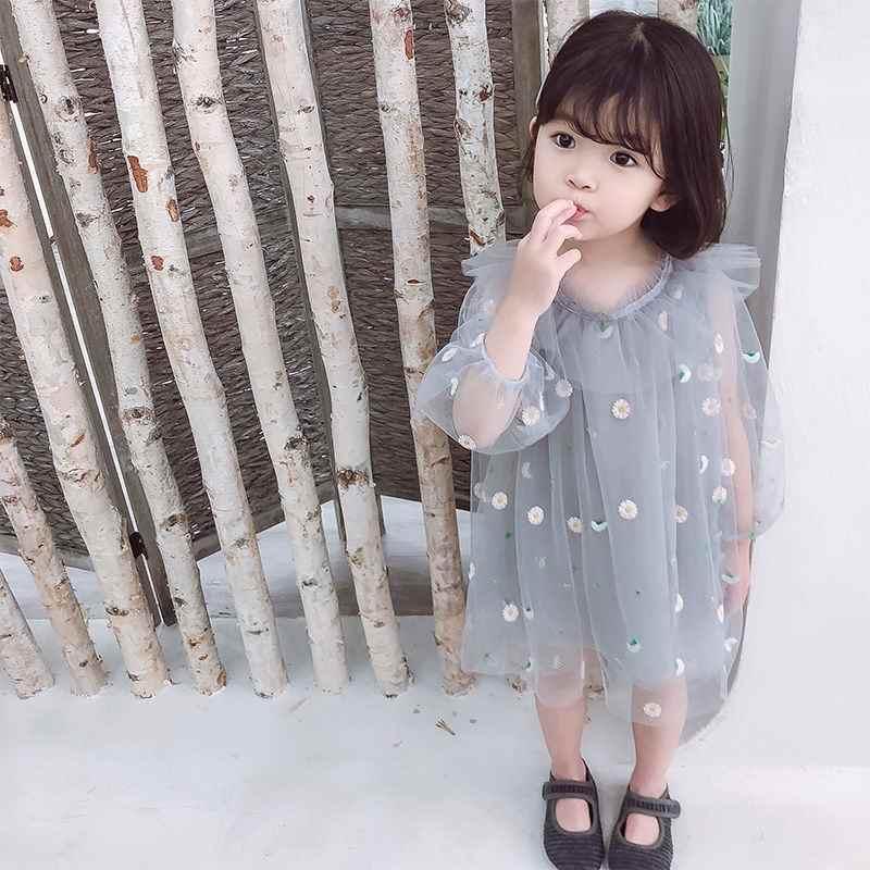 2019 Новый сезон: весна–лето Модное детское Сетчатое платье принцессы с цветочным рисунком Детские платья для девочек Одежда для маленьких девочек; Одежда для девочек; Vestido L284