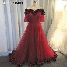 SuperKimJo 3D Flowers Prom Dresses Long Burgundy Off the Shoulder Elegant Gown Vestidos De Graduacion Largos 2019