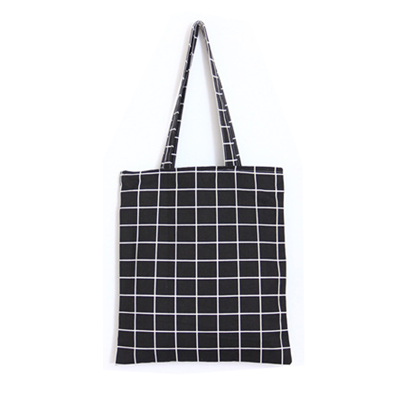 Fashion Female Canvas Beach Bag Plaid Casual Tote Women Canvas Handbag Daily Use Single Shoulder Shopping Bags women s casual tote female shopping bag ladies single shoulder handbag simple beach bag sacoche baobao bags for women on sale