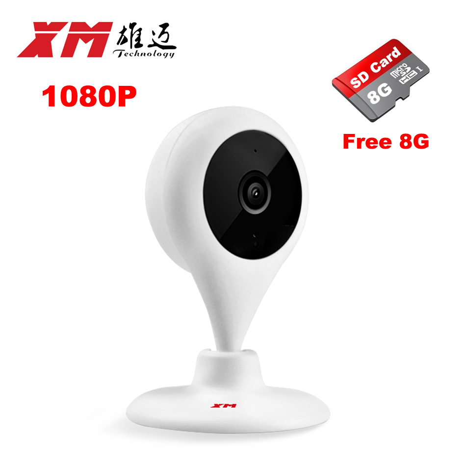 1080P HD IP Camera+8GB With Remote Controller Wifi Smart Baby Monitor Network CCTV Security Camera Home Protection Cam bc 883m mirror bulb lamp camera hd 960p wifi ap hd 960p ip network camera with real light remote control 2017 new arrival