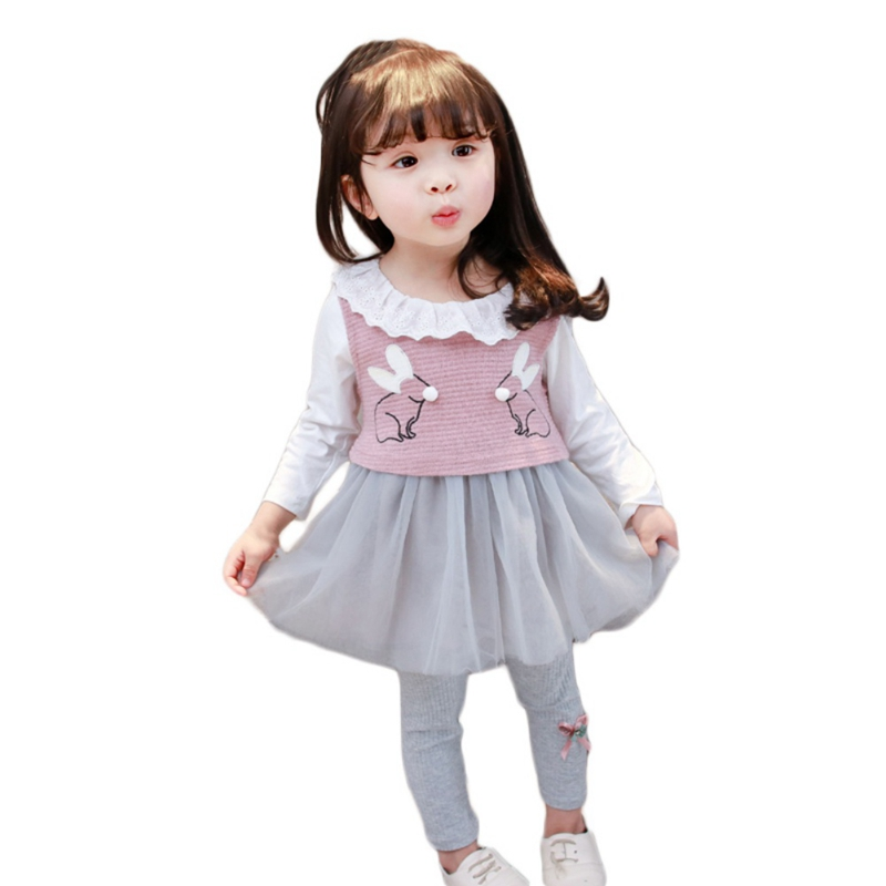 Newborn Casual Suit Girls Vest+Long-sleeved Dress+Legging Three-piece Set 2018 New Fashion Baby Girls Princess Clothing  S1Newborn Casual Suit Girls Vest+Long-sleeved Dress+Legging Three-piece Set 2018 New Fashion Baby Girls Princess Clothing  S1