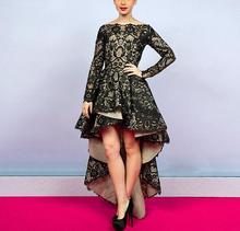 Neue Modische Vordere Kurze Lange Rück Black Lace Long Sleeve Abendkleider Prom Kleid Weg Von der Schulter Vestido de