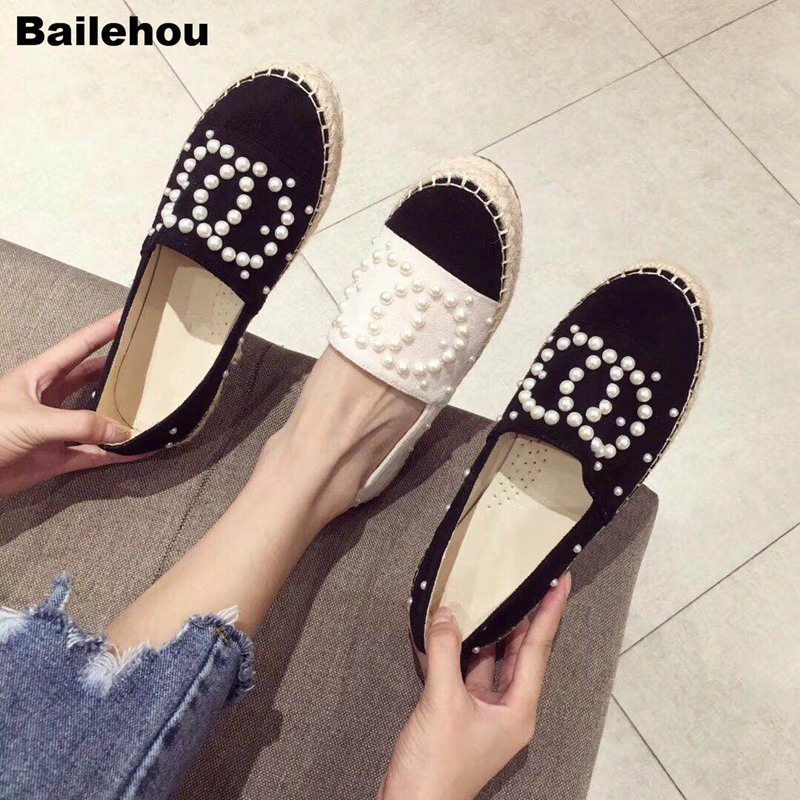 Women Flats Shoes Fashion Pearl Loafers Cane Hemp Straw Fisherman Flat Heel Shoes Round Toe Slip On Casual Shoes Chaussure Shoes