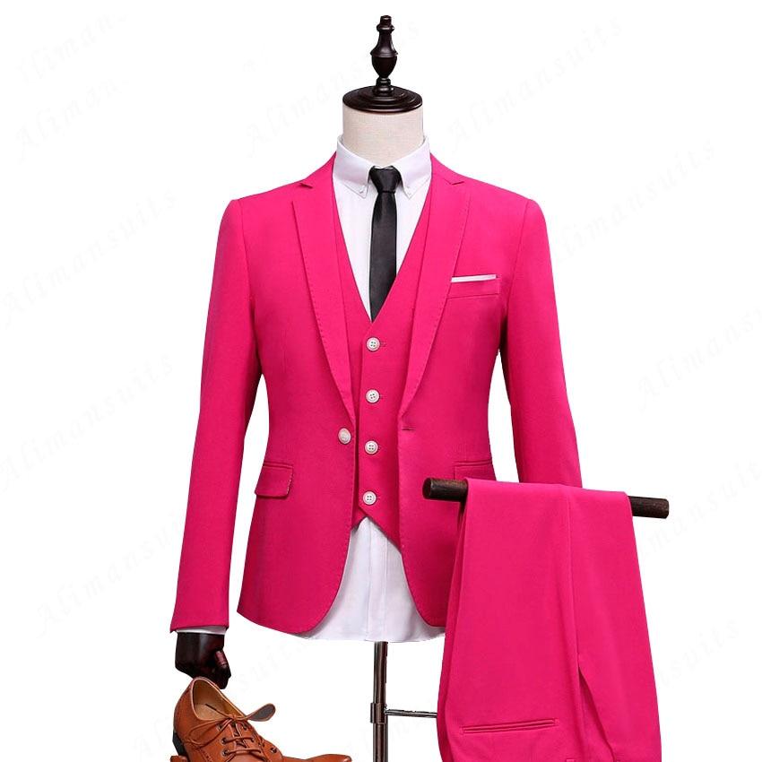 Rose Red Groomsmen Suit Rose Red Man Blazer For Groom
