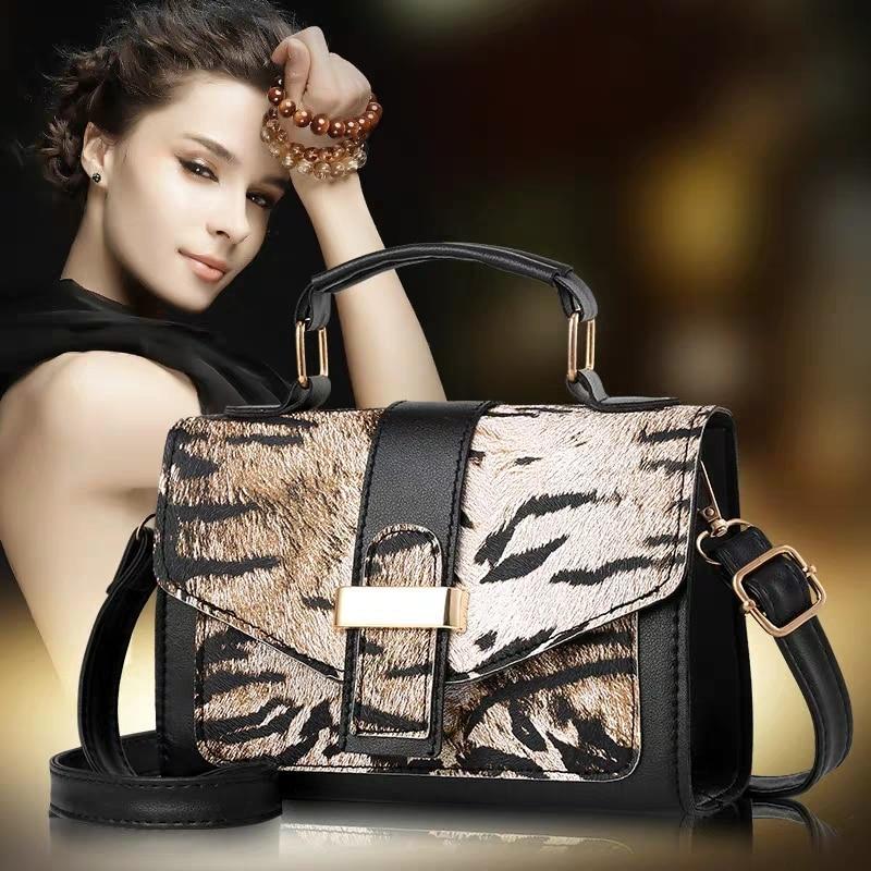 JUILE Brand Women Handbag Bag Leopard Print Bags Chain Shoulder Messenger Crossbody Handbags Designer Small Square