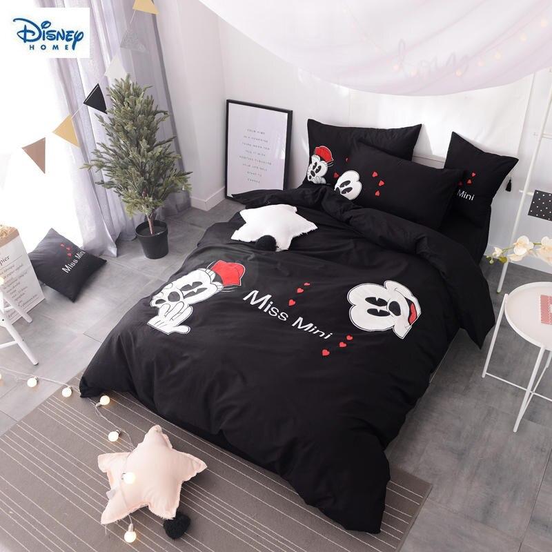 Romantique mickey et minnie literie ensemble reine taille draps de lit pour enfants couple mariage décor de chambre à coucher grand lit-housse de couette pleine linge de maison
