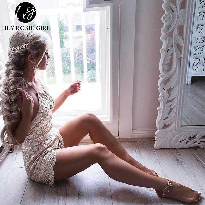 Lily Rosie chica hombro hueco Sexy mujer verano de las mujeres vestido de noche fiesta corto peleles cuello V profunda monos