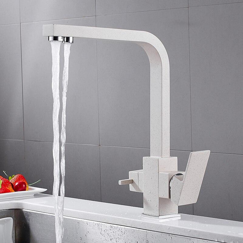 MTTUZK carré Chrome laiton cuisine robinet mélangeur évier robinet froid et chaud cuisine moderne eau potable 3 voies filtré robinet mélangeur - 2