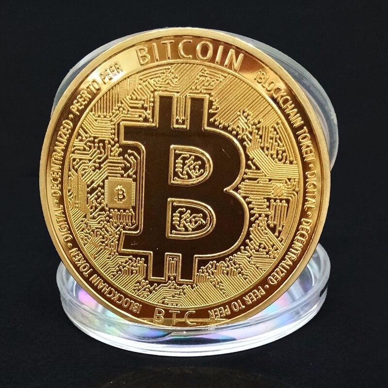 Bitcoin Gold Plated Token Commemorative Collector Virtual Dollar Coin