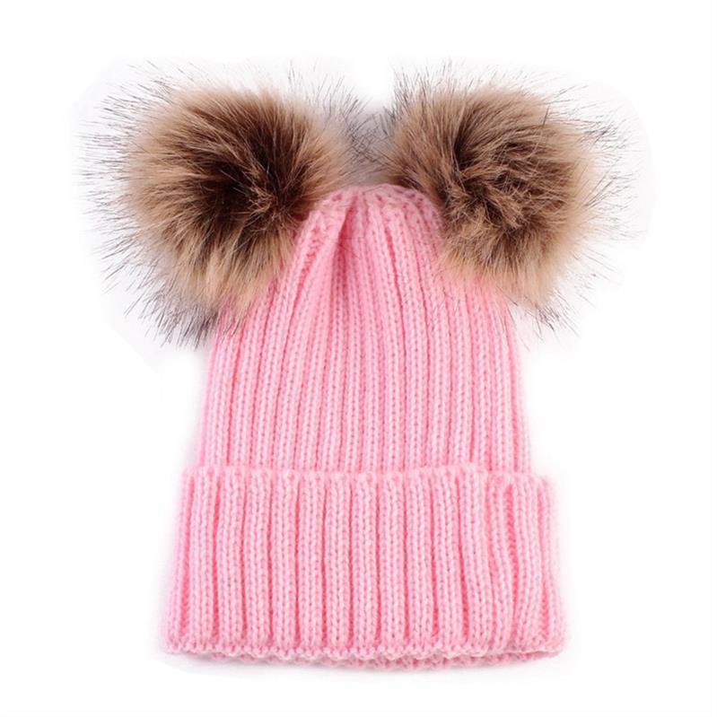Dropwow 2018 Adult Baby Beanies Double Faux Fur PomPom Hat Winter ... 7c6e822d62