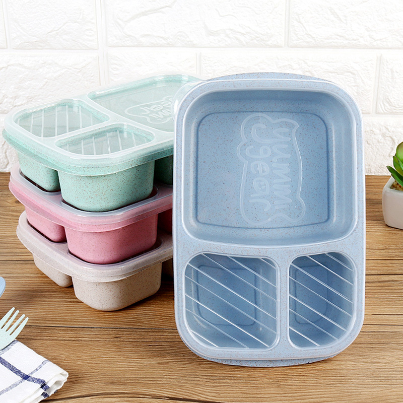 Plastic Lunch Box Food Container Bento Lunch Boxes With 3-Compartment Microwave