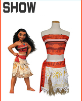 Women Kids Movie Moana Princess Dress Cosplay Costume Princess Vaiana Costume Skirt CM192