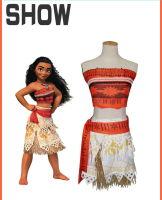 Women Kids Movie Moana Princess Dress Cosplay Costume Princess Vaiana Costume Skirt CM192