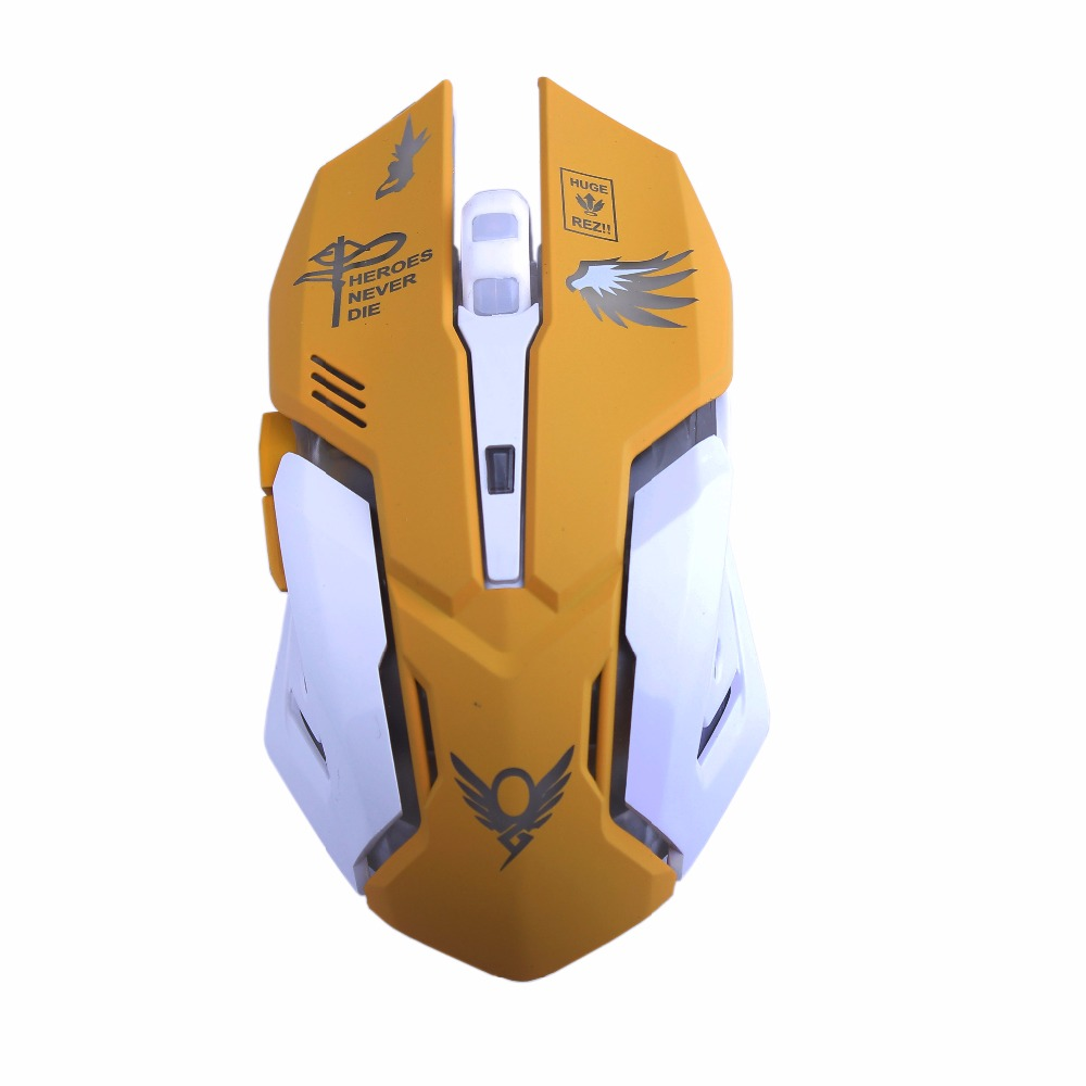 Mercy Gaming Mouse 2400 DPI USB Wired 6 Buttons Gamer Mice Ergonomic Cool Flash Lights for PC Laptop Computer Overwatch