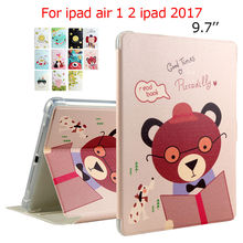 "For iPad 2017 PU Leather Case 9.7"" Colorful Print Protective Stand For Apple iPad 5 6 air 1 2 Tablet Smart Cover Dormancy Funda"