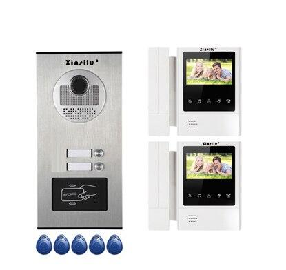 XINSILU New Item Home Security Intercom System Doorphone For 2-apartments w/t 4.3Video Door Phone Monitors ID card Unlocking