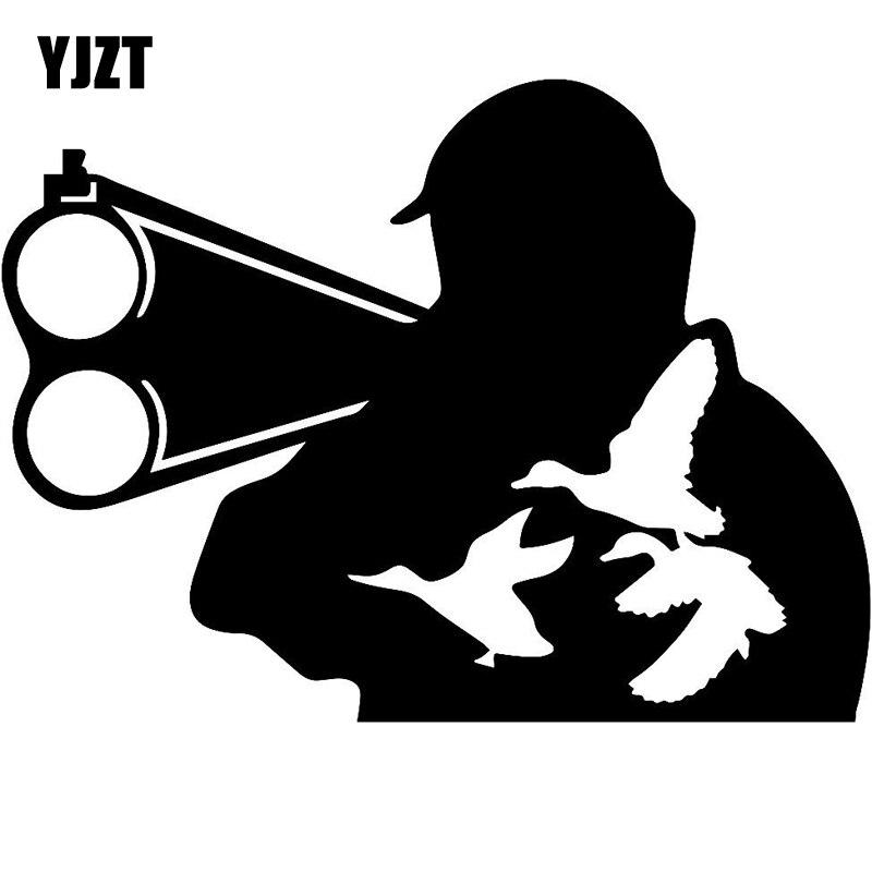 YJZT 15.5cm*11.5cm Hunter Wild Duck Hunting Car Decals Vinyl Stickers Fashion Car-Styling Black/Silver S6-2691