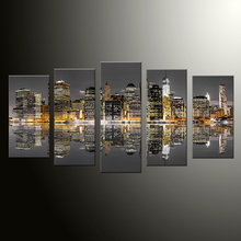 5 Pieces/set  Colorful City Night Modern Home Wall Decor Canvas Picture Art HD Print Painting On Canvas For Living Room DC1-100