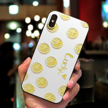 IMIDO 3D Summer Fruit Pattern Matte Fresh Color TPU Soft Silicone Cases For iphone 6/7/8/X Anti-fall Lanyard Fashion Back Cover