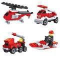 4 Pcs série Fogo escada barco Helicóptero carro de aspersão Kits Modelo de Blocos de Construção Bloco de Tijolo Brinquedos Set playmobil Legoe Compatível