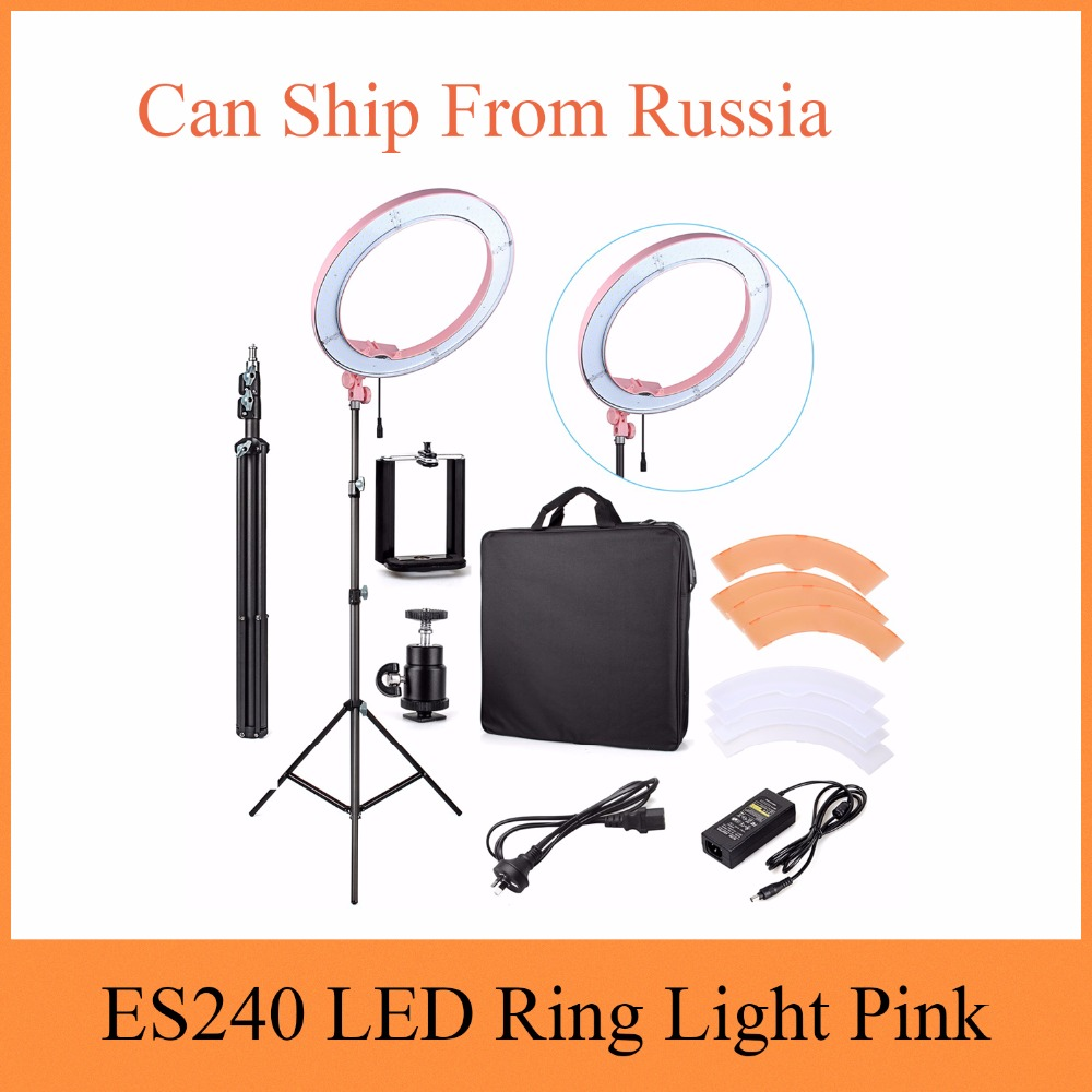 ES240 LED Ring Light 18 Stepless Adjustable Ring Light Camera Photo/Video Portrait photo ...
