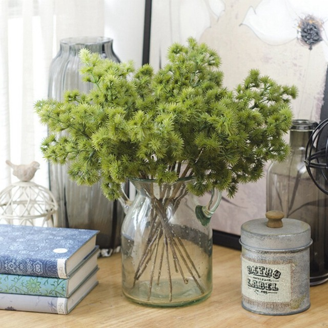 eco pine tree short branches plastic plants artificial fall leaves