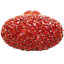 LaiSC oval luxury evening clutch bags red Handcraft crystal clutch purse golden diamante women party evening bags handbags SC154