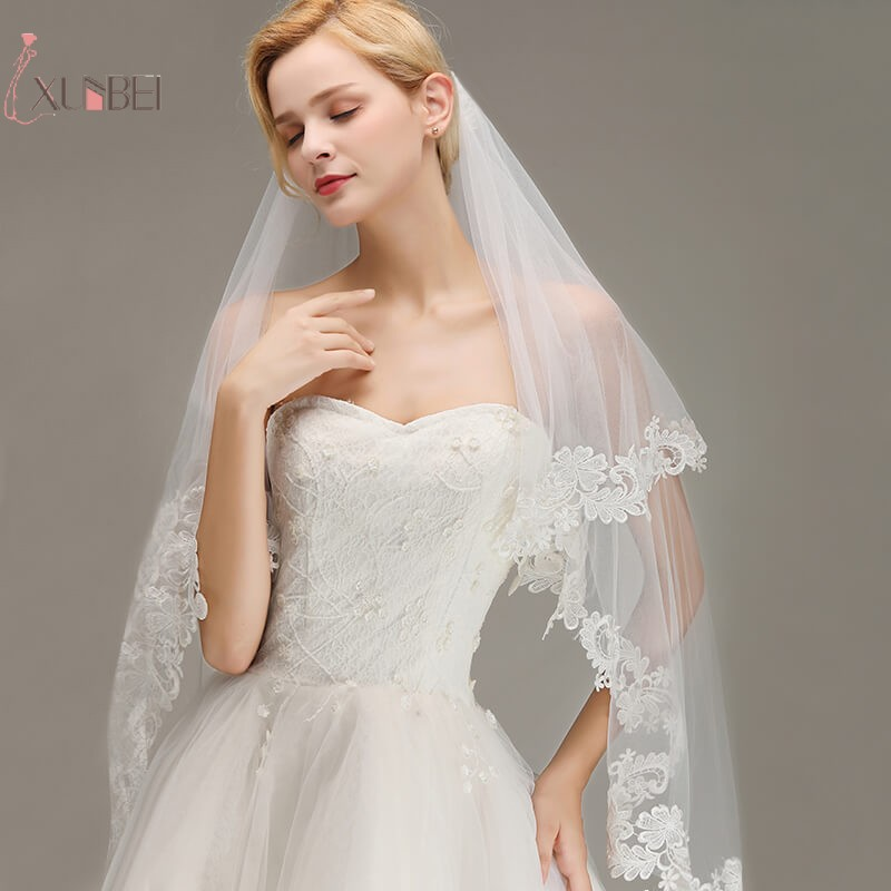 Voile Mariage Short Elbow 2 Layer Wedding Veil With Comb Lace Edge White Ivory Bridal Veil Wedding Accessories Veu De Noiva(China)