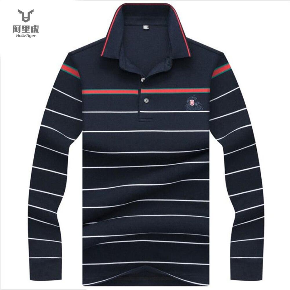 Hollirtiger 3D Embroidery Poloshirt Casual   Polo   Shirts winter men's Long sleeve   polo   shirt 2018 Strip Men   Polos