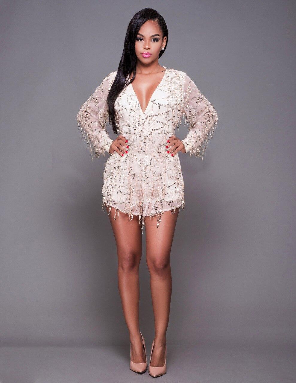 f566d0364 Fashion design ladies sexy jumpsuit sequin shorts women bodysuit v neck  club elegant jumpsuit hot sale N273