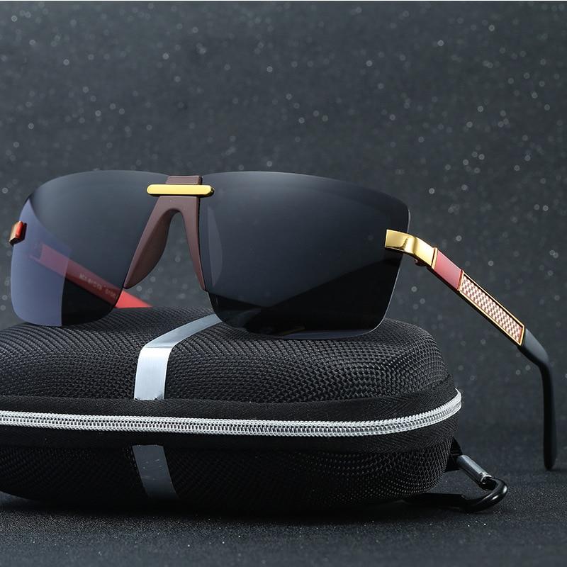 HD Polarized Sunglases Rimless Men Sunglasses 2017 Luxury Brand Designer Gafas Oculos De Sol Masculino Polarizado Espelhado