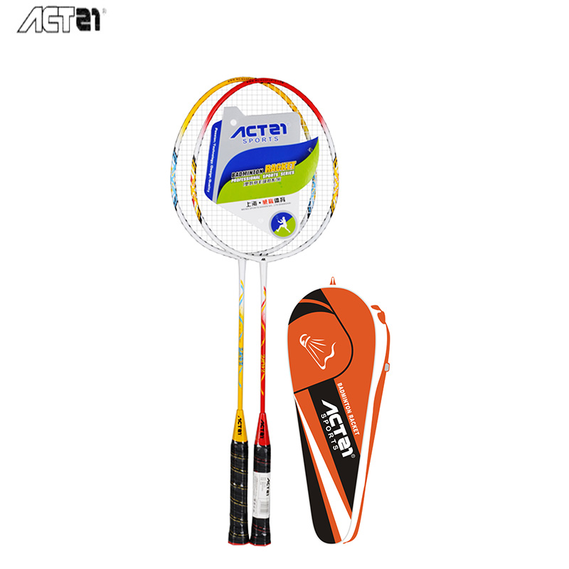 ACTEI 2Pcs Lightweight Badminton Racquet With Carry Bag III Ferroalloy Training Badminton Racket Sport Equipment Durable