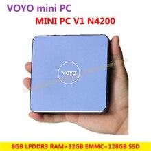 VOYO Mini PC V1 N4200 (8GB DDR3L RAM+32GB EMMC+128GB SSD) Windows 10 Pocket PC Intel Lake Apollo CPU 4K HD output 3 x USB3.0